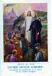 This prayer card depicts the Order's founder, the Blessed Scalabrini as a guide to immigrants with Jesus standing beside him.