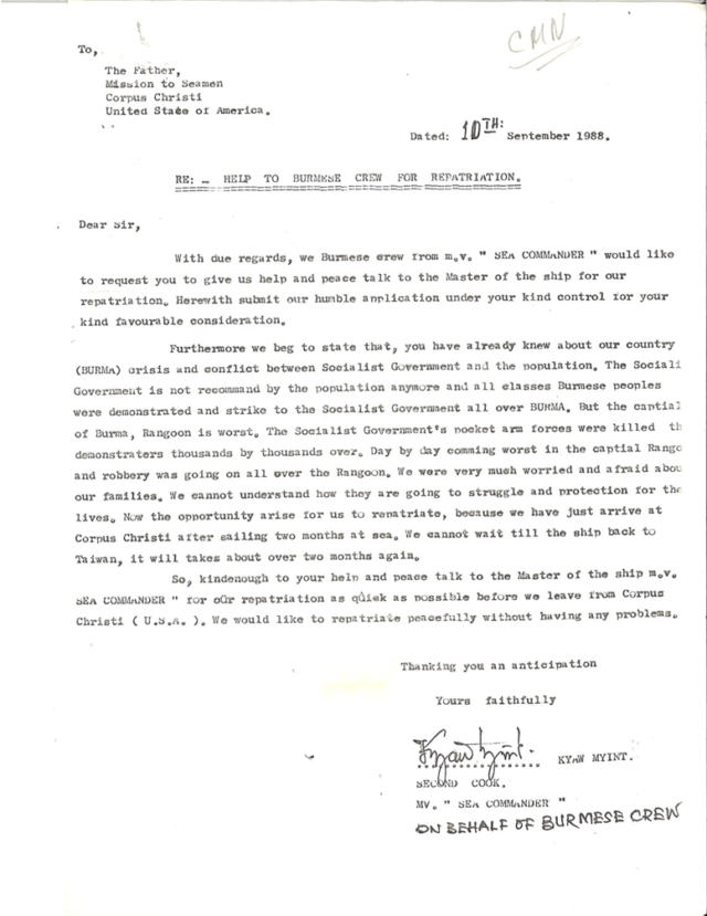 Archival Letter on Behalf of Burmese Crew