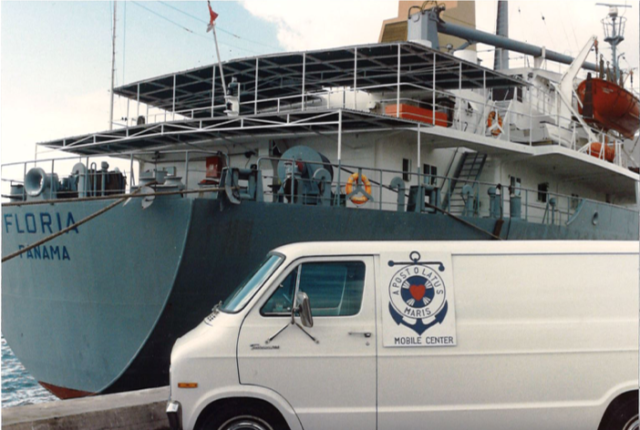 apostleship of the sea van in front of boat