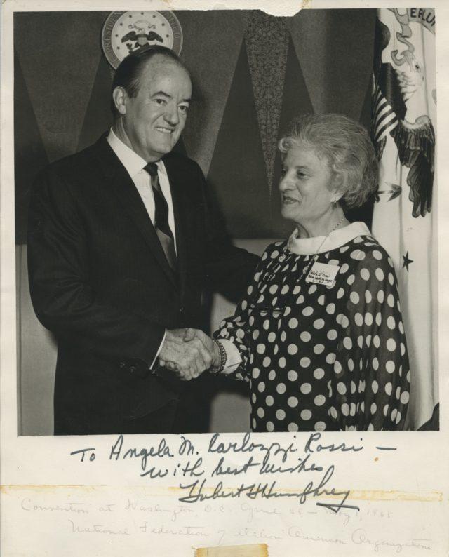 Angela M. Carlozzi Rossi Meets President Humphrey
