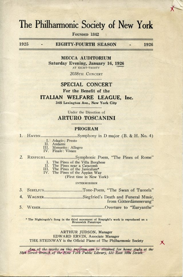 Toscanini Benefit Concert Italian Welfare League