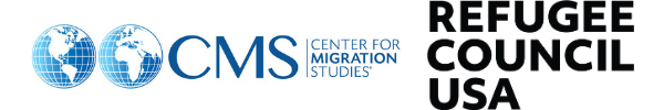 Logos of the Center for Migration Studies of New York and Refugee Council USA