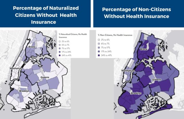 Percentage of Naturalized Citizens and Non-Citizens without Health Insurance in New York City. Gradient of percent uninsured b
