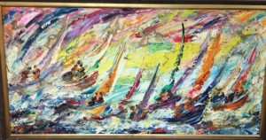 "Sirena, Boats of S.M. Artist, 24x28"" painting. 1980. Photographer Gianni D'Agostinelli."